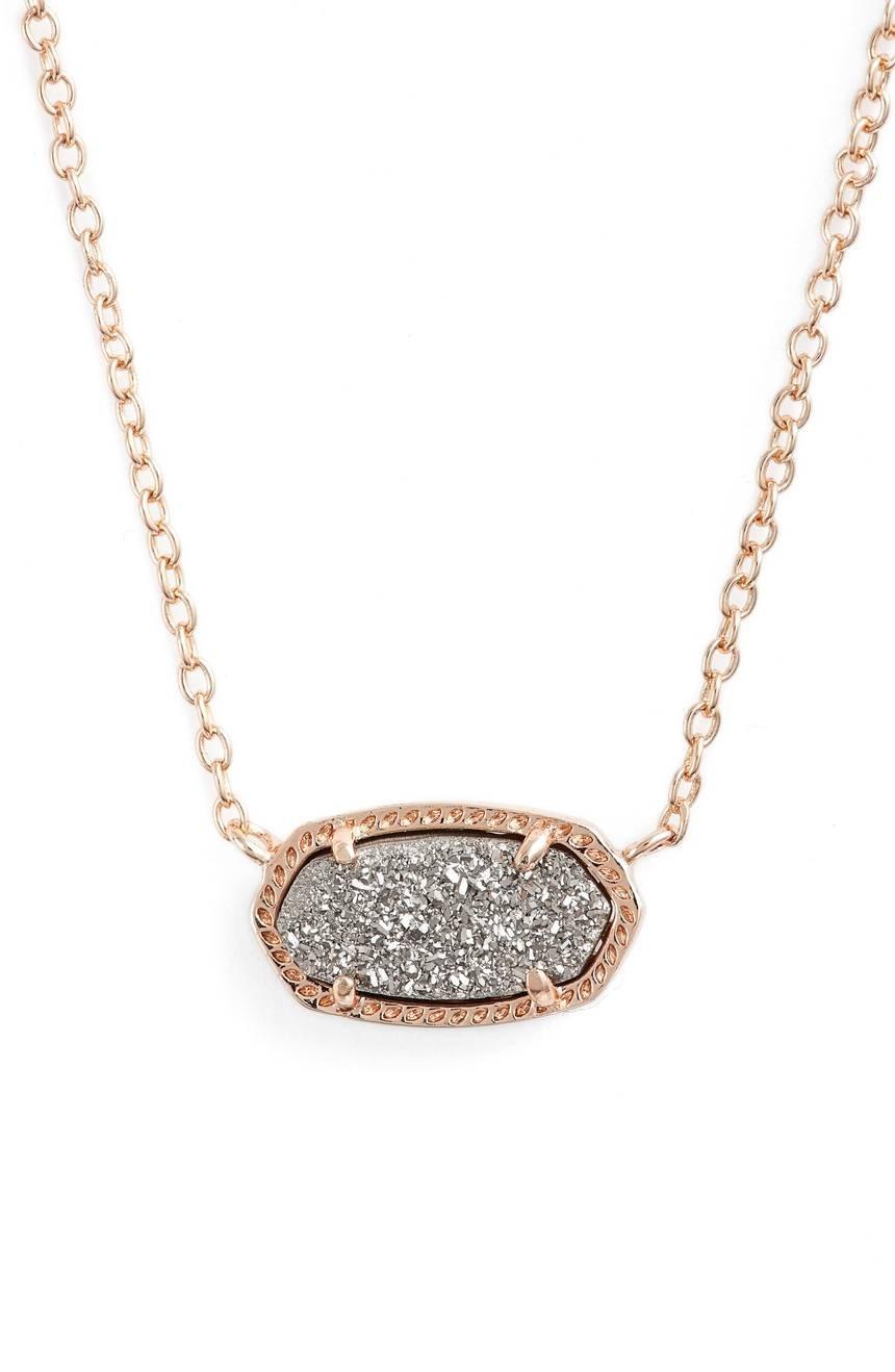 Kendra Scott Signature Elisa Platinum Drusy Rose Gold Pendant Necklace