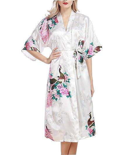 Pijama de Seda Novia Kimono de Seda Ropa de Dormir de Satén Estampado Pavo Real 3