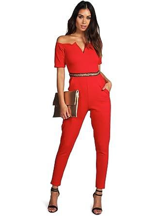 Damen Rot Lois Jumpsuit Mit Bardot-ausschnitt Und Goldapplikation - Rot - 8 eb46b95788