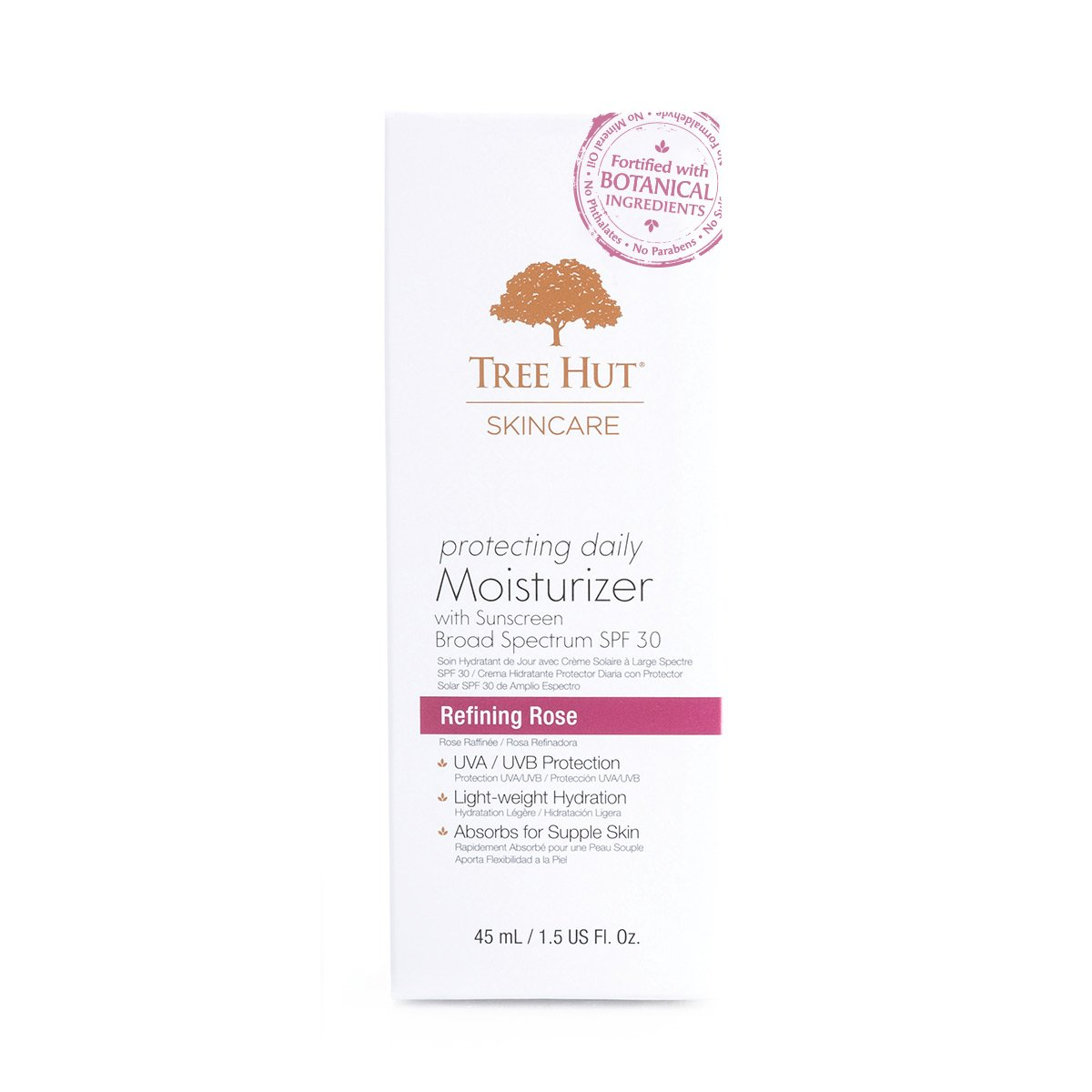 Tree Hut Skincare Protecting Daily Moisturizer with Sunscreen Broad Spectrum SPF-30, Refining Rose, 1.5 Fluid Ounce