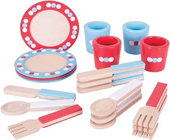 16-piece Kids Dishes and Utensils Playset – Natural Wooden Dinnerware Set