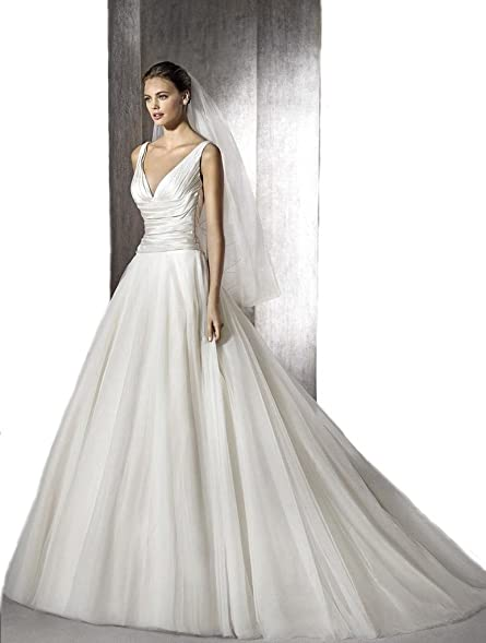 Zac Posen Wedding Dress | Gogh White Truly Zac Posen Ruched V Neck Satin Wedding Dress At