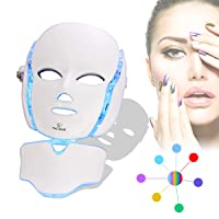 FAZJEUNE 7 Color LED Mask, Facial Mask LED Light Therapy Skin Rejuvenation 7 Color PDT Photon Facial Skin Care Mask With Neck Care Portable SPA Face LED Mask , White