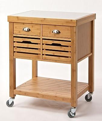 Boraam 50650 Kenta Bamboo Kitchen Cart with Stainless Steel Top