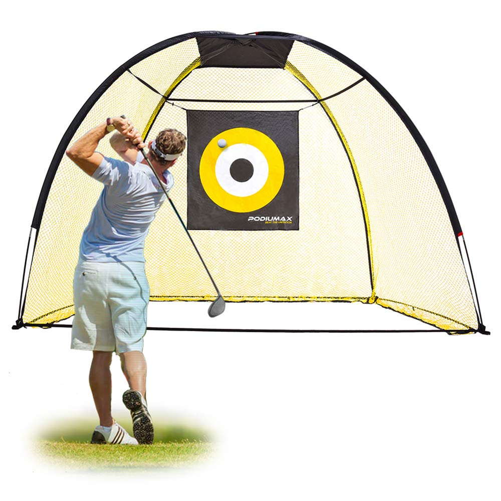 PodiuMax 9x7ft Golf Hitting Net with Target Sheet | Driving Range for Backyard & Indoor | Golfing Swing Training Aids by PodiuMax