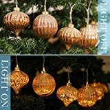 Valery Madelyn 7.2Ft Led String Light Decorated with 10ct 100mm Trendy Rose Gold Glass Christmas Ball Ornaments and 10 Lights Battery Operated