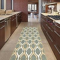 Diagona Designs Contemporary Moroccan Trellis Design Non-Slip Kitchen/Bathroom/Hallway Area Rug Runner, 31 W x 118 L, Teal/Ivory/Beige