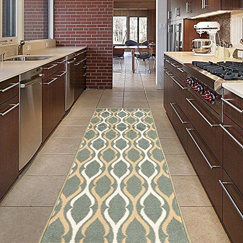 Diagona Designs Contemporary Moroccan Trellis Design Non-Slip Kitchen / Bathroom / Hallway Area Rug Runner, 31