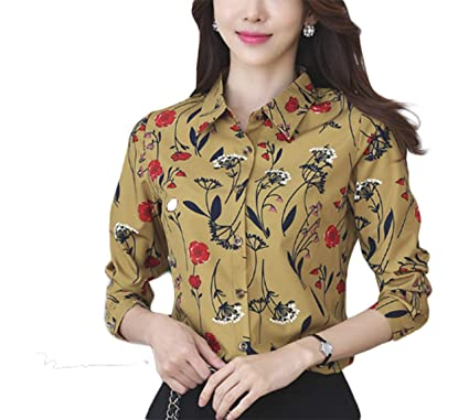 f168cb8d690 Thx Style Women's Long Sleeve Collared Button Down Floral Printed Shirt  Blouse Tops(L, Yellow) Casual Shop Formal Sale Plain Slim fit Ladies Cotton  Printed ...