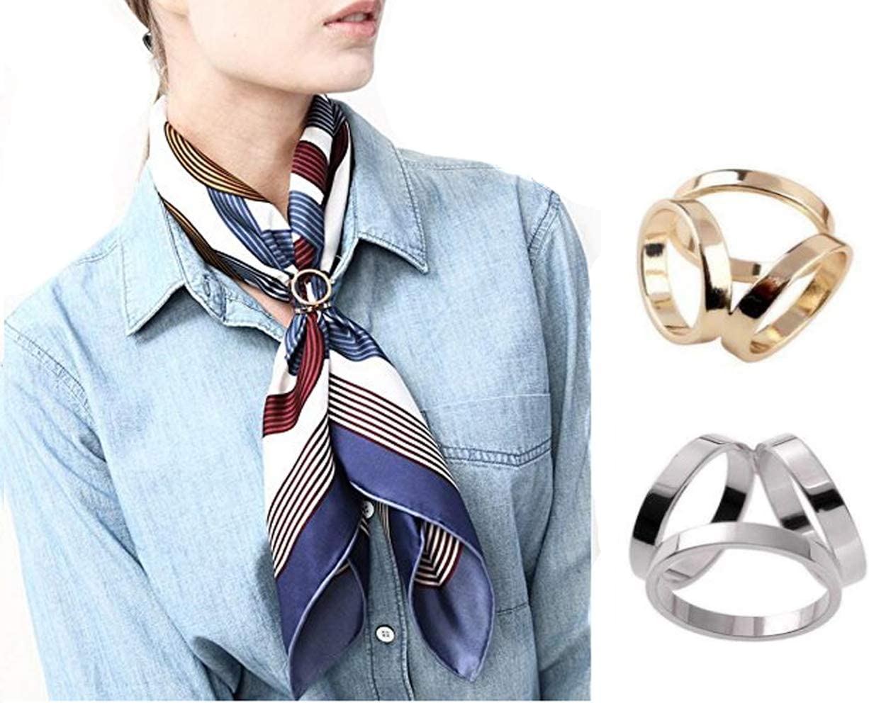 2 PCS Fashion Scarf Three Ring Buckle Modern Simple Triple Slide Jewelry Silk Sarf Clasp Clips Clothing Ring Wrap Holder for Women Lady (Sliver+Golden)