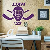 Hockey Mask Wall Decal - Personalized Vinyl Decor For Teen, Boy's Bedroom or Playroom - Sports Decorations