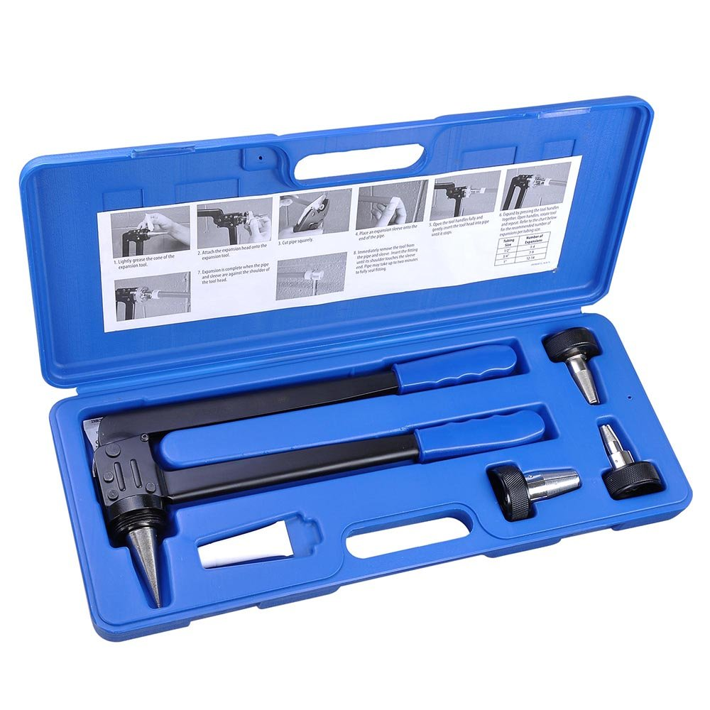 Yescom PEX Expansion Tool Kit Tube Expander with 1/2'' 3/4'' 1'' Expander Heads Hard Carry Case