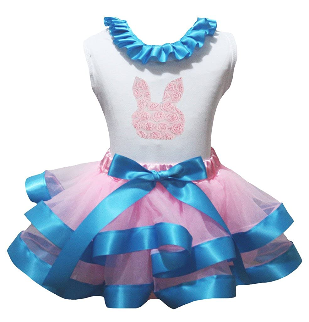 Petitebella Floral Rose Bunny White Shirt Blue Pink Petal Skirt Set Nb-8y