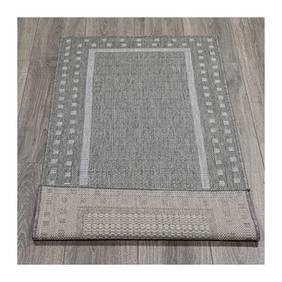 """Ottomanson Jardin Indoor/Outdoor Bordered Runner Rug, Gray, 2'X5', 20"""" x 59"""", Grey - VERSATILE: Robust construction makes it ideal for high-traffic areas indoor or outdoor. DURABLE and LONG LASTING: Power-loomed in Turkey with %100 polypropylene. LOW-PILE HEIGHT is non-shedding and ideal for homes with pets and high-traffic. - runner-rugs, entryway-furniture-decor, entryway-laundry-room - 61drpAvnJOL. SS570  -"""