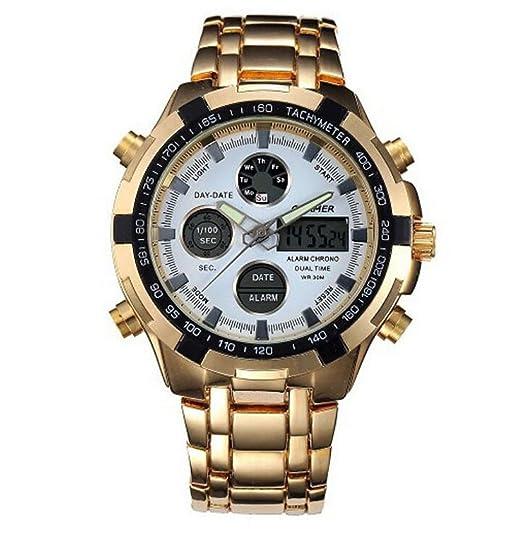 Gokelly QUAMER Hombres de oro Digital reloj multifunción impermeable de acero inoxidable 165 oro blanco: Amazon.es: Relojes