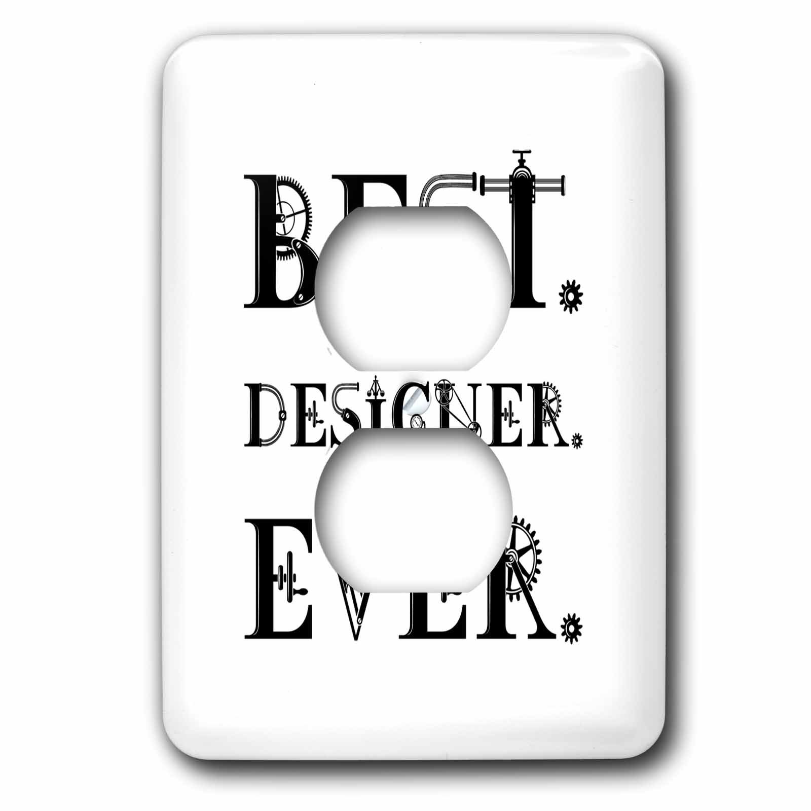 3dRose Alexis Design - Best Professional Ever - Best. Designer. Ever. decorative text on background white - Light Switch Covers - 2 plug outlet cover (lsp_286100_6)