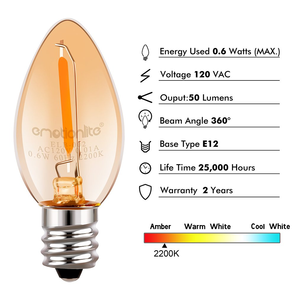 Night Light Bulbs, Emotionlite Amber LED C7 Bulb, 7w Equivalent, E12 Candelabra Base, Salt Lamp and Nightlight Replacement Bulb, 0.6W, Amber Yellowish 2200K, 50LM, 6 Pack by Emotionlite (Image #2)