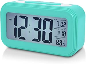 """Battery Digital Alarm Clock for Bedroom, 4.5"""" LCD Display Bedside Alarm Clock with Snooze, Backlight, Night Light, Date and Temperature, Sleep Timer for for Heavy Sleepers, Elderly, Teens (Blue)"""
