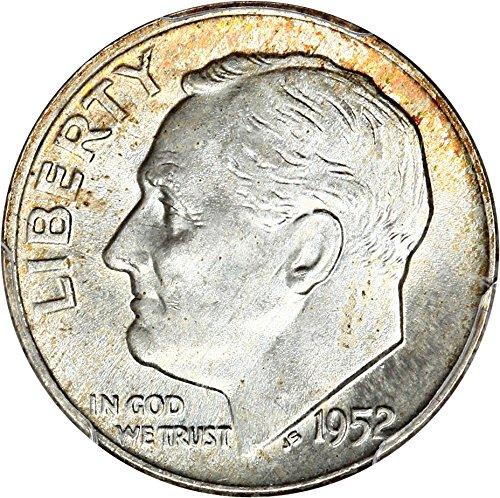 1952 Silver Dime - 1952 D Roosevelt Dimes Dime MS67 PCGS FB