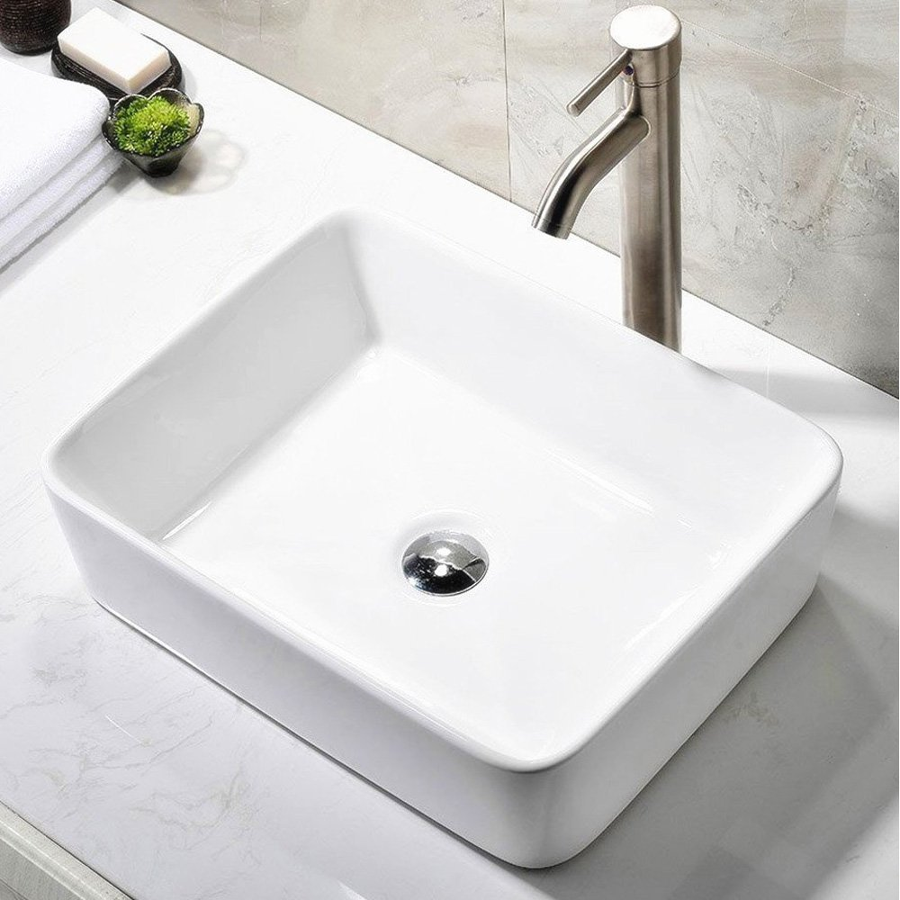 Bathroom faucets for bowl sinks - Ufaucet Modern Porcelain Above Counter White Ceramic Bathroom Vessel Sink