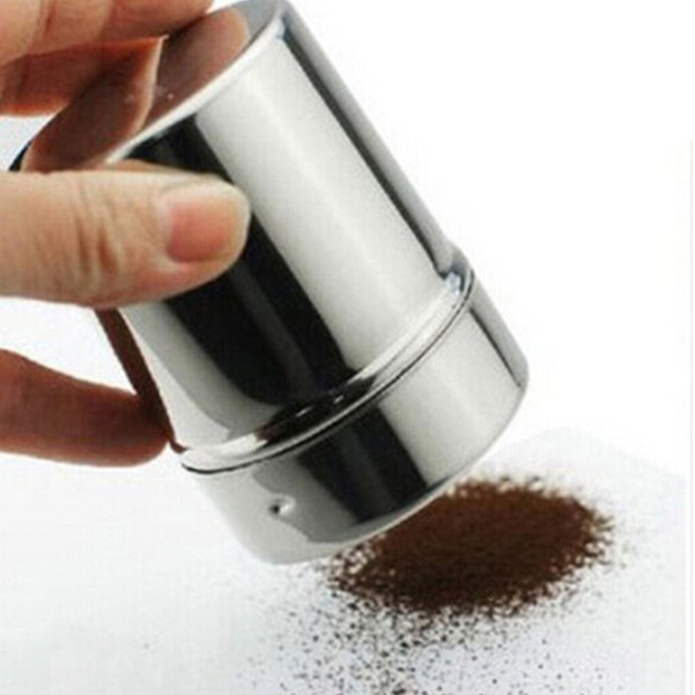 Stainless Steel Powder Sifter, Functional Stainless Steel Chocolate Shaker Icing Sugar Salt Cocoa Flour Coffee Sifter (5.58.5cm,Silver) yodaliy