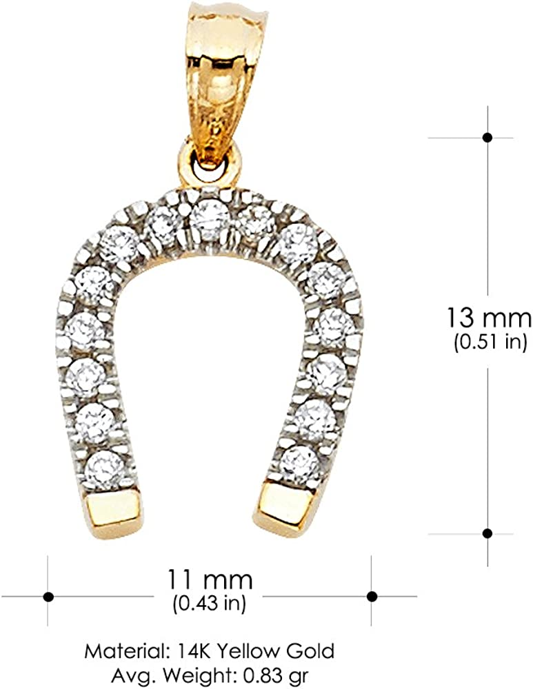 14K Yellow Gold Cubic Zirconia CZ Lucky Horseshoe Charm Pendant with 0.8mm Box Chain Necklace