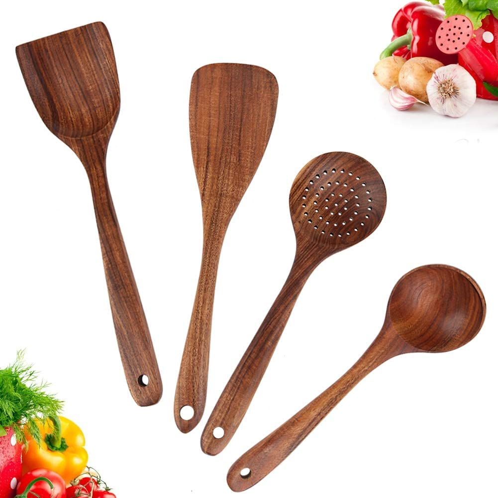 Wooden Utensils for Cooking, Wooden Kitchen Utensil Set Includes Wooden Spoons for Cooking and Wooden Spatula Set for Nonstick Cookware, Teak Wooden Cooking Utensils of Natural Unpainted (Set 4)