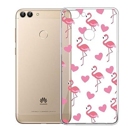 Funda para Huawei P Smart / Huawei Enjoy 7S Carcasa , YIGA Moda Flamenco rosado Caso Cristal Transparente Funda TPU Gel Cubierta De Silicona Suave ...