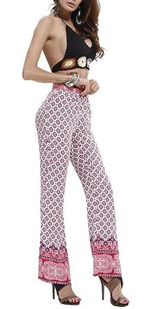 Bigood Pantalon Long Femme Coton Pantalons Imprimés Droit Plage Piscine  Voyage Sport Casual Blanc Fleur 62 810475e82a09