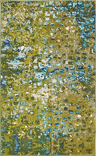 Unique Loom Jardin Collection Vibrant Abstract Green Area Rug (3' 3 x 5' - Olive Area Rug Rectangular