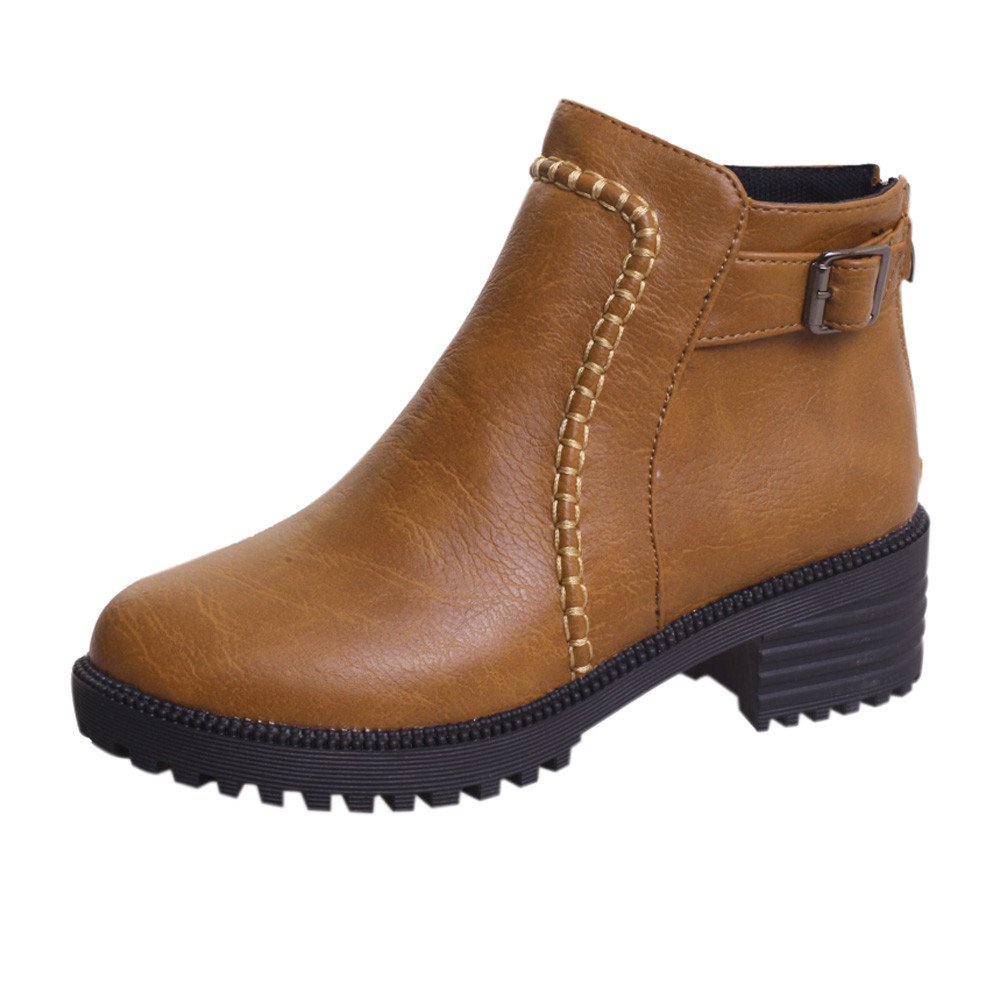 Student High-Heeled Martin Boots Bare Boots Women's Shoes Thick Short Boots (Brown, 39)