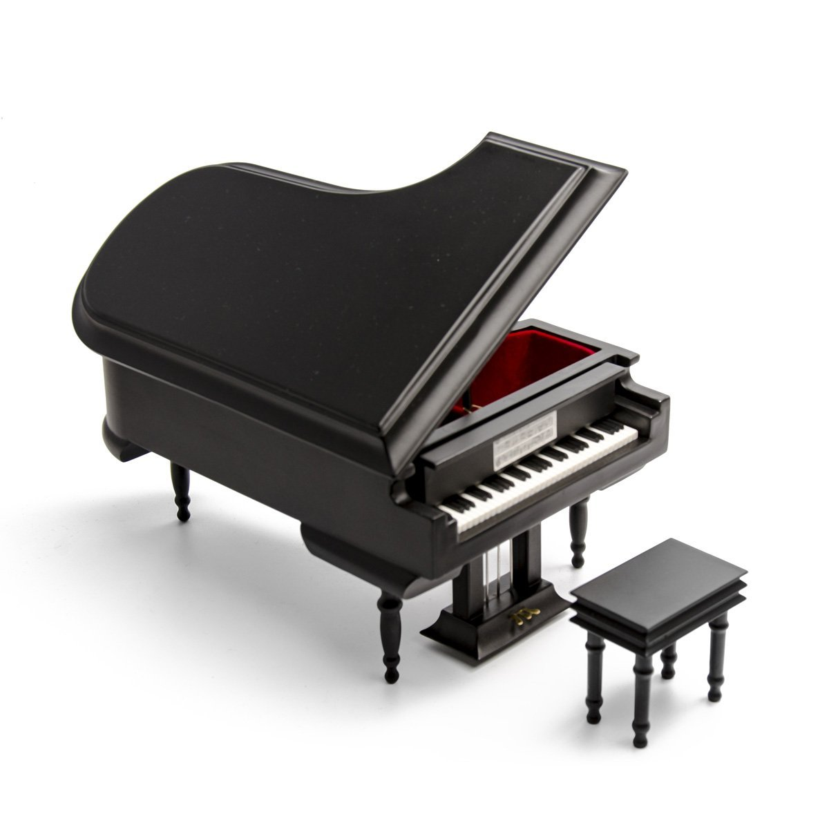 Sophisticated 18 Note Miniature Musical Matte Black Grand Piano With Bench - Over 400 Song Choices - Talk to the Animals