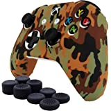 SmartFire Anti-slip Color Printing Camouflage Silicone Cover Skin Set for Xbox One S/Xbox One X controller(Brown controller skin x 1 + Thumb Grips x 8)