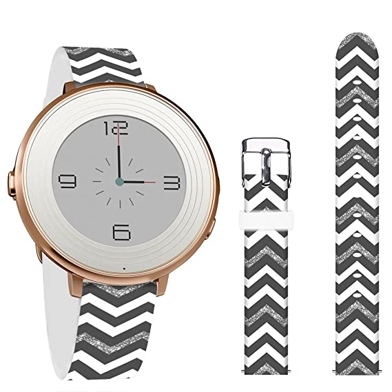 Pebble Time Round 14mm Bands,Jolook Leather Replacement Band with Quick Release for Pebble Time Round 14mm Watch - Beautiful Chevrolet Band 2017