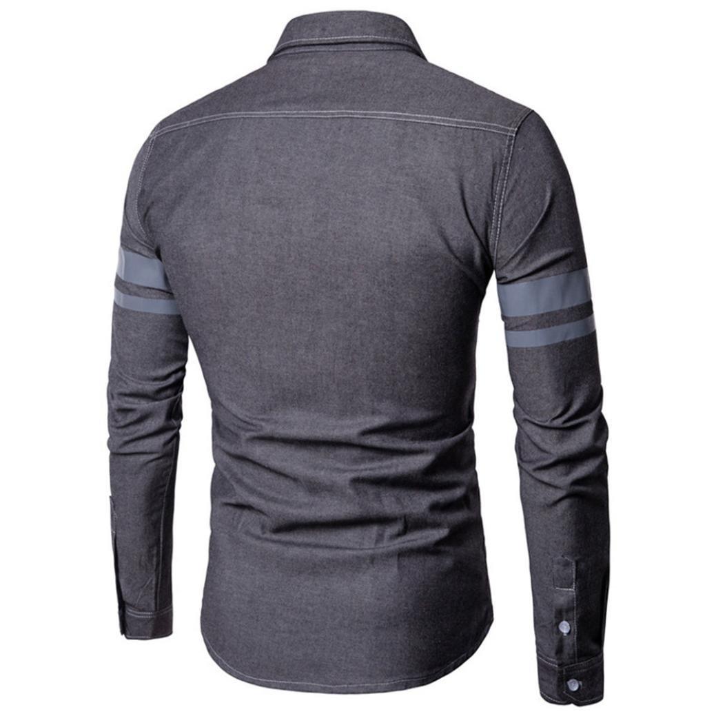 Camisa de Manga Larga de algodón de Manga Larga de algodón de Mezclilla Casual de Moda de otoño de los Hombres: Amazon.es: Ropa y accesorios