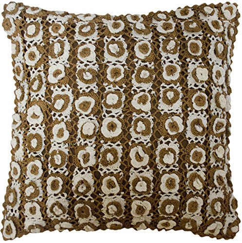 Floral Rosette Crochet Knit Throw Pillow Cover Brown White