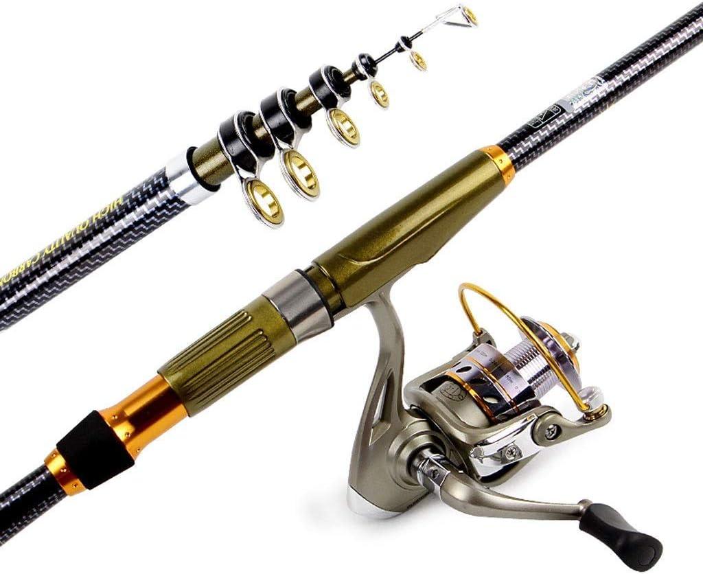 テレスコピック釣り竿スピニングリール付き釣り竿コンボ旅行塩水淡水釣り用キャリアバッグ  2.1M set