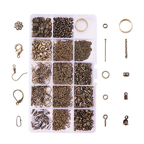 Necklace Clasp Metal Flowers (PandaHall About 1642 Pcs Jewelry Finding Kits with Snap Bail,Earring Hook, Ear Wire, Lobster Claw Clasp, Flower Bead Caps, Screw Eye Pin, Head Pin, Jump Ring, Crimp Beads, Cord End, Necklace Chain)