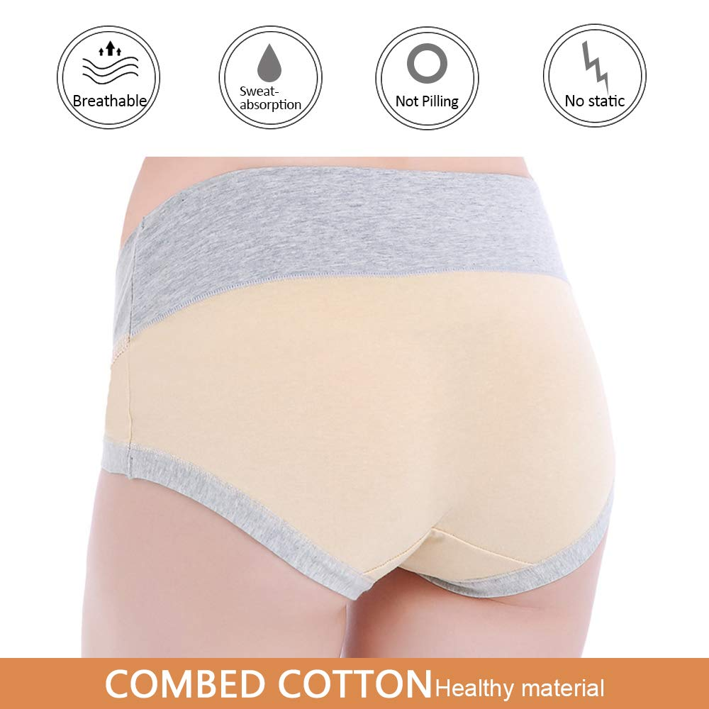 Frauen Schwangerschaft Postpartale Slips Unter dem Babybauch Baumwollh/öschen Unterw/äsche 3//5 Pack BOZEVON Mutterschaft Slips