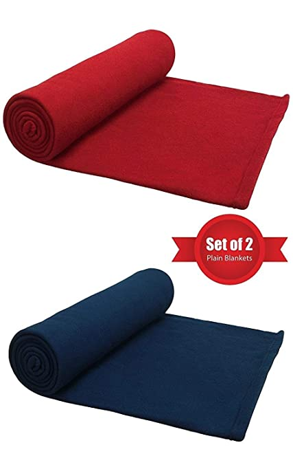 SANSEZZ Single Fleece Blanket Blue & Red Set of 2