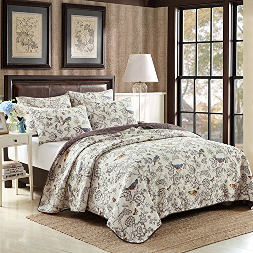 mixinni Home Antique Chic Reversible 100% Cotton 3-Pieces Quilt Set With Shams Country Style Birds Floral Bedspread Coverlet Set-King Size (Antique Chic Quilt Set)