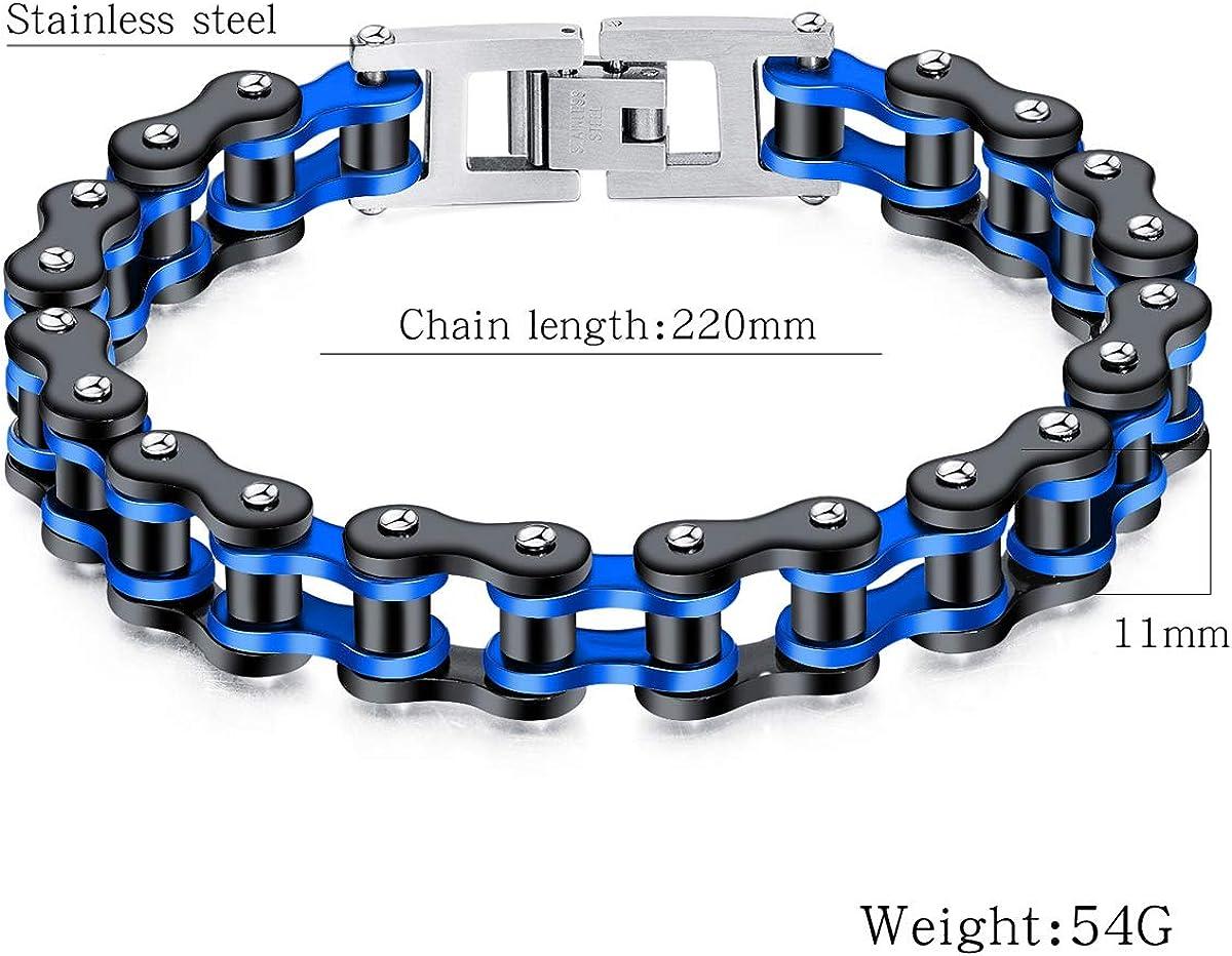BIKER MEN Stainless Steel 8mm Silver Black Braided Leather Magnetic Bracelet*PLN