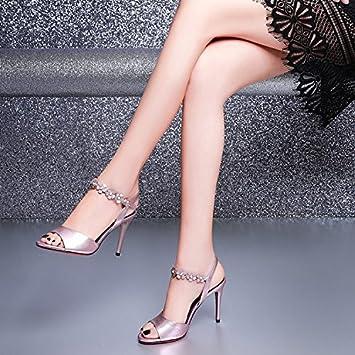 Jqdyl High Heels Weibliche Sandalen Sommer Thin High Heels  Silver