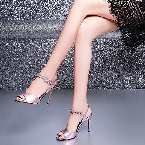 Jqdyl High Heels Weibliche Sandalen Sommer Thin High Heels  39|Pink