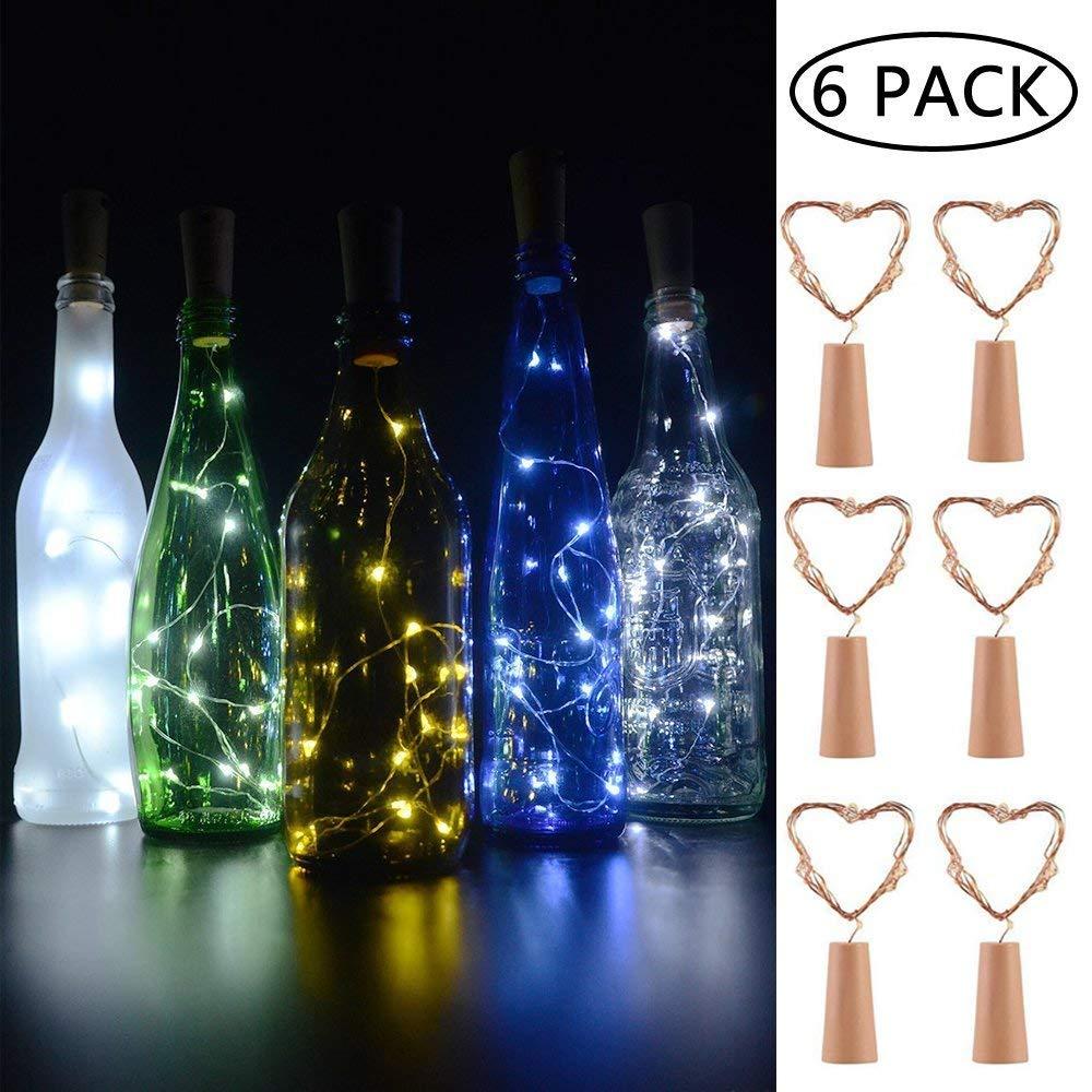 6 PCS Luz de Botella,BizoeRade Juego de botellas de vino blanco-frío cálido Cork Lights 15 LED de cobre Wire Lights de cadena para la botella DIY, fiesta, ...