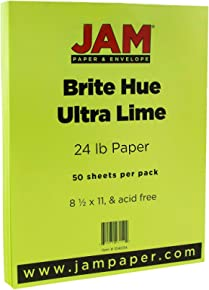 "JAM PAPER Bright Color Paper - 8 1/2"" x 11"" - 24lb Brite Hue Ultra Lime Green - 50 Sheets/pack"