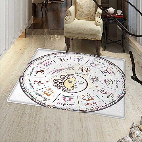 Zodiac Area Rug Carpet Western Chart All Signs Aries Virgo Leo Taurus Libra Mystique Fate Calendar Living Dining Room Bedroom Hallway Office Carpet 3