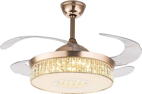 Crystal Ceiling Fan Lights LED Dimmable Chandelier Retractable Fan