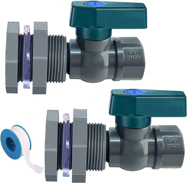 Yummiman 2 Pack PVC Spigot Garden Rain Barrel Faucet Kit 3/4 Inch Drain Valve with Bulkhead Fitting + Thread Seal Tape