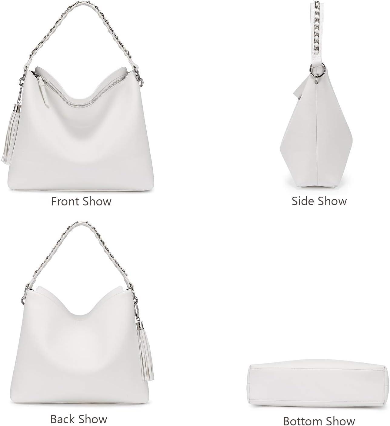 LOVEVOOK Sacs /à main femme grand sac /à bandouli/ère en simili cuir sac /à bandouli/ère avec glands designer sac hobo lot de 2 petit sac cosm/étique Blanc